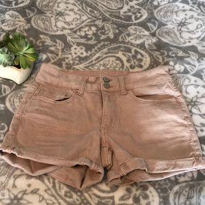 [So] Light Pink Denim Midi Shorts